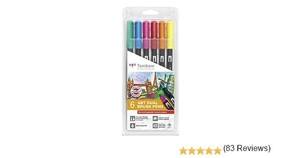 Set De 6 Rotuladores Dual Brush Colores Vivos Tombow: Amazon.es: Oficina y papelería