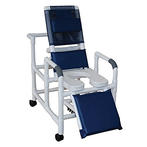 - MJM International 193-SSDE Reclining Shower Chair with Elevated Leg Extension and Open Front Soft Seat, 325 oz Capacity, Royal Blue/Forest Green/Mauve