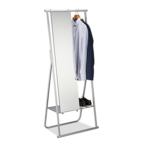 Relaxdays Metal Clothes Full-Length Mirror, Garment Rails & Shoe Rack, Coat Stand, Silver, 156.5 x 64.5 x 39 cm