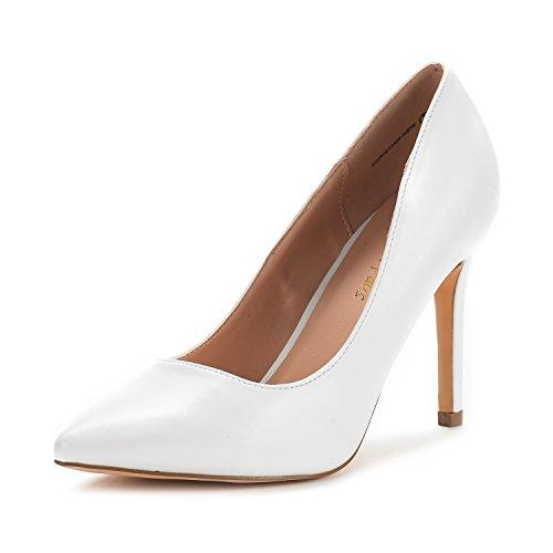 Dream Pairs Women's Christian-New White Pu High Heel Pump Shoes - 8 M US