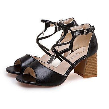 Robusto Rosa 7'5 Negro PU Confort Sandalias Cordón cms Con Confort Verano Black Beige 9'5 Paseo Casual LvYuan Tacón Mujer pPq6wZqg