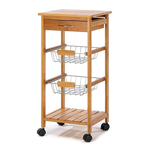 Kitchen Cart, Wooden Rolling Portable Homestyle Osaka Kitchen Cart with Basket