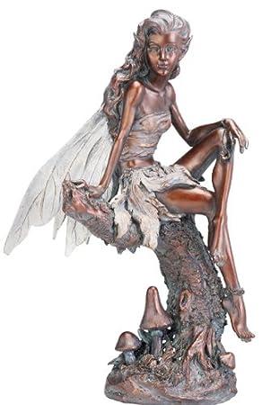 Napco Bronze Fairy Figure Garden Statue, 13-Inch Tall