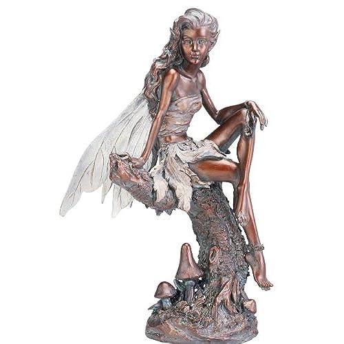 Beau Napco Bronze Fairy Figure Garden Statue, 13 Inch Tall