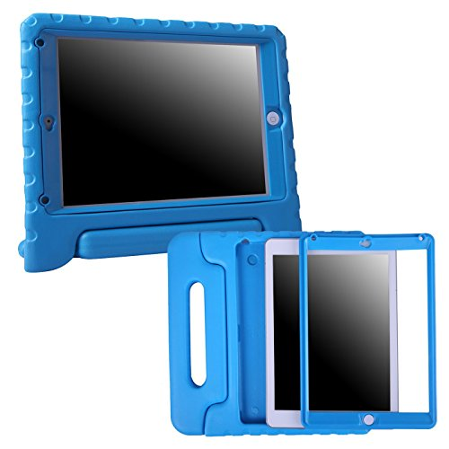 HDE iPad 9.7-inch 2018 / 2017 Bumper Case for Kids Shockproof Hard Cover Handle Stand with Built in Screen Protector for New Apple Education iPad 9.7 Inch (6th Gen) / 5th Generation iPad 9.7 - Blue (Impact Media Safes)