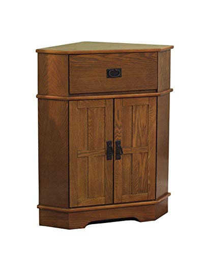 - 2 Door Corner Cabinet - Modern Accent Cabinet - Light Oak Finish Storage Stand - Display Living Room Furniture