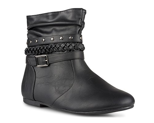 - Twisted Women's Shelly Faux Leather Ankle-High Slouchy Boot with Multi Buckle Straps - SHELLYDEV Black, Size 8