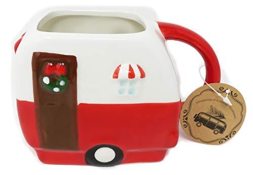 (Whimsical Cupboard By 10 Strawberry Street Red Christmas RV Camper Van 16 Ounce Figural Coffee Tea Mug)