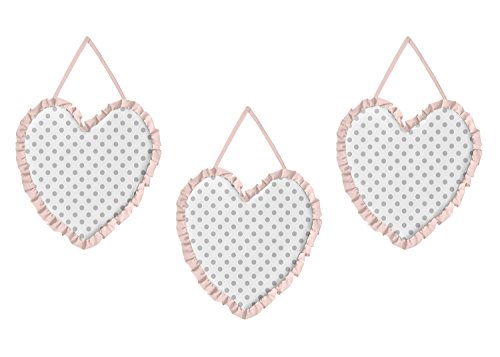 Sweet JoJo Designs 3-Piece Blush Pink, Grey and White Wall Hanging Decor for Watercolor Floral Collection