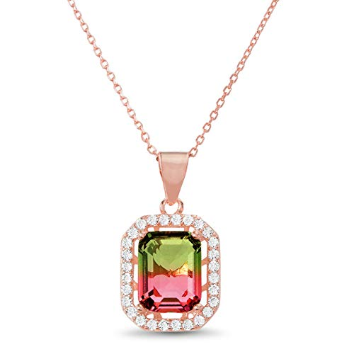 Cut Tourmaline Earring Emerald Pink - INSPIRED BY YOU. Emerald Cut Prong Set Simulated Watermelon Tourmaline and Cubic Zirconia Bridal Necklace for Women in Rose Gold Plated Sterling Silver (Pink)