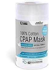 A World of Wipes Professional sin aroma de algodón CPAP máscara de limpieza Camgloss, 62 toallitas, Fórmula natural