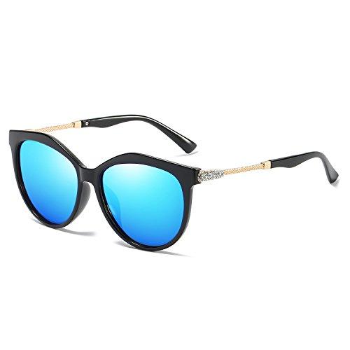 VeBrellen Women's Shades Polarized Sunglasses for Women UV Protection Eyewear Transparent Frame (Black Frame Blue Lens)