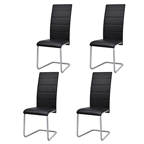 vidaXL Set of 4 Cantilever Black Artificial Leather Dining Chairs Kitchen Seats