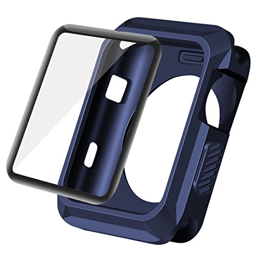 Wolait Compatible with Apple Watch Case 42mm, Rugged Protective Case + Tempered Glass Screen Protector for Series 3, Series 2, Series1 (Navy)