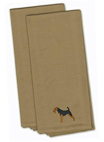 (Caroline's Treasures BB3385TNTWE Welsh Terrier Tan Embroidered Kitchen Towel (Set of 2), 28