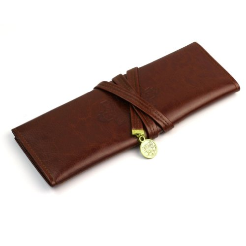 RHX Elegant Vintage Moon Synthetic Leather Pencil Cosmetic Case Pen Pouch Brown, Bags Central