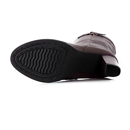 AgooLar Women's PU High-top Solid Zipper High-Heels Boots Brown BkDgU