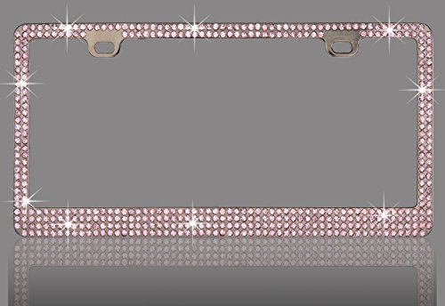 - Premium 6 Rows Pink(A-Screw Cap)-PB Real Crystal Rhinestone Embedded-Metal Black/Smoke License Plate Frame