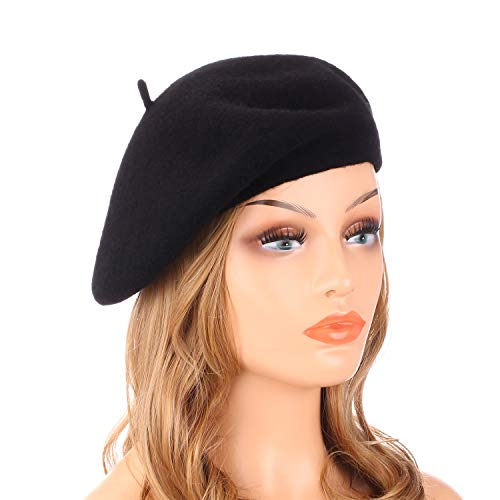 Wheebo Wool Beret Hat,Solid Color French Style Winter Warm Cap for Women ()
