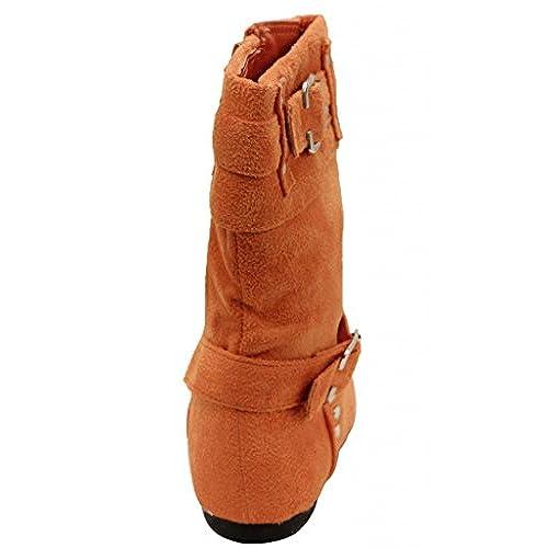 DOK Corp. Chiara-73ka girls mid calf side zipper stud adjustable strap suede boots