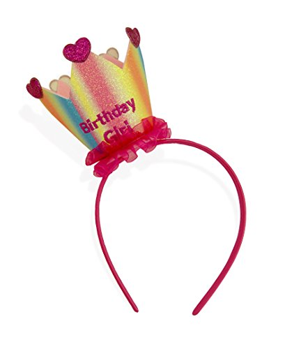 One Size Embroidered Birthday Girl Rainbow Colored Princess Crown Birthday Headband for Girls ()