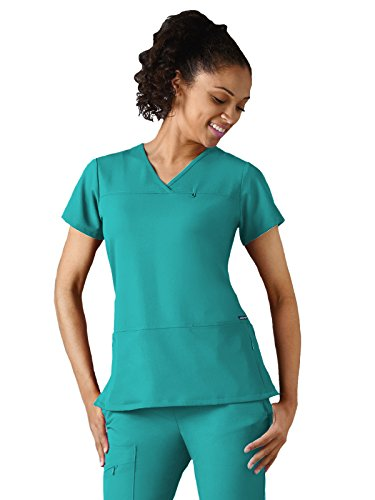 Classic Fit Collection by Jockey Women's 6 Pocket Solid Scrub Top X-Small Teal Collection V-neck Scrub Top