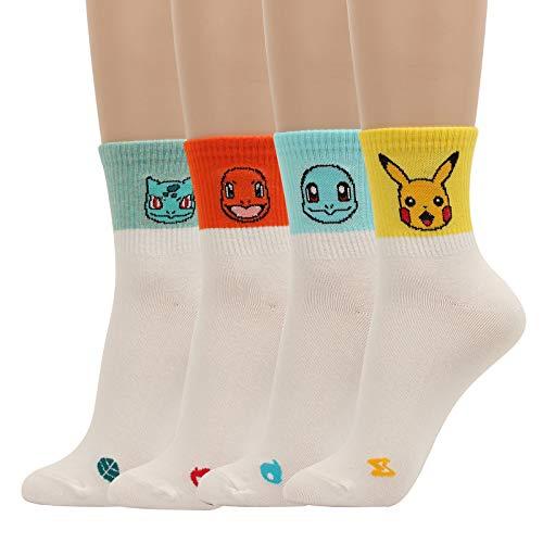 WOWFOOT Cute Pokemon Cartoon Character Print Cotton Crew Floor Socks For Women Girl Boy 4pair (4 pair - Pokemon Series 7)