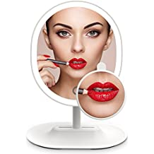 MiroPure 5x Magnifying 16 LED Vanity Makeup Mirror with Touch-control Light Panel, USB Powered