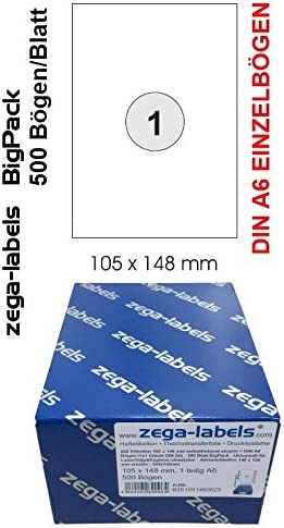 40 Etiketten DIN A6 148 x 105 mm weiß selbstklebend