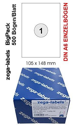 500 etiquetas para impresión con 103 x 148 mm A6 hojas auto ...