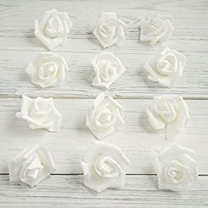 """Tableclothsfactory 12 pcs 2"""" White Real Touch 3D Artificial DIY Foam Rose Flower Head for Walls Backdrops Centerpieces Decoration 40"""