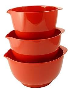 Hutzler Melamine Mixing Bowl Set: 2, 3 and 4 Liters/quarts, Red