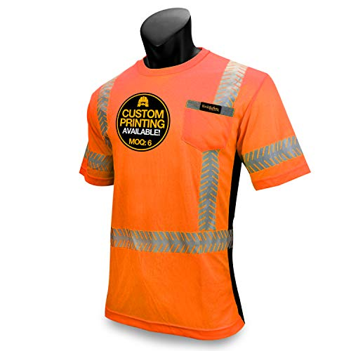 KwikSafety DISCOVERY | Class 2 Short Sleeve Safety Shirt | 360° ANSI Compliant Work Wear | Hi Vis Moisture Wicking Silver Fishbone | Men Women Construction Exercise Security | Orange Large by KwikSafety