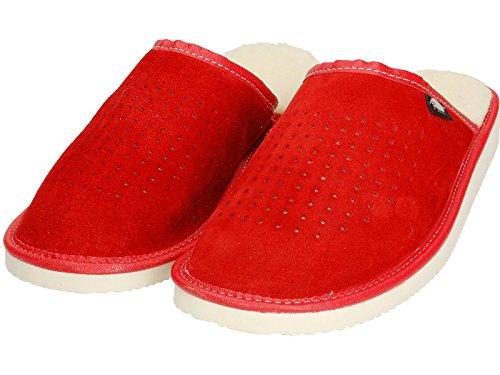 Ecoslippers - Zapatillas de estar por casa de Ante para mujer Red