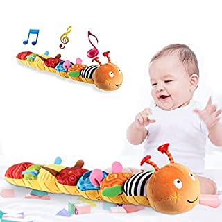 aturustex Newborn Baby Toys Infant Baby Musical Caterpillar Toddler Plush Toy for Preschool Educational Toy Crinkle Rattle Soft with Ring Bell Encouraging Imagination (Multi Color)