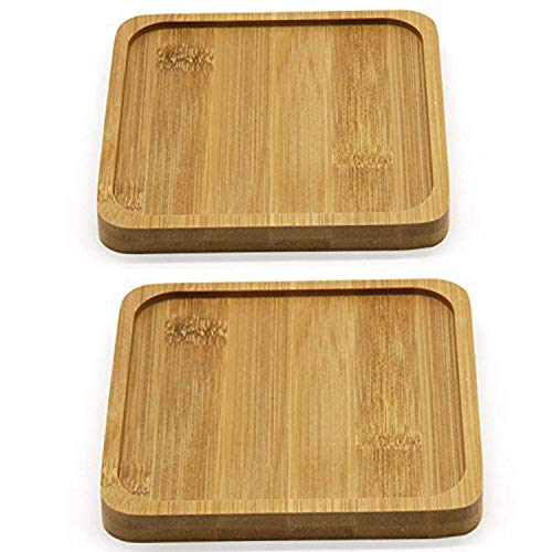 T4U 5 Inch Bamboo Square Bamboo Tray Sandy Beige Package 1 Pack of 2