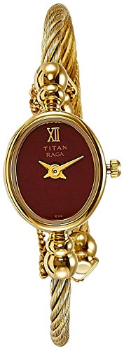 Titan Raga Women's Bangle Watch | Quartz, Water Resistant | Gold Band and Red Dial (Best Titan Watches In India)