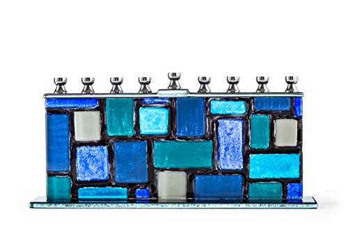 Glass Candle Menorah - Fits all Standard Chanukah Candles - Handcrafted Blue and White Western Wall / Kotel Design Menora - by Ner Mitzvah