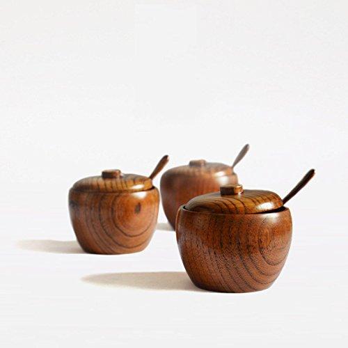 Wall of Dragon 1Pcs/Set Natural Wood Spice Jar with Lid Fashion Sugar Bowl Salt Jar with Free Spoon Kitchen Accessories