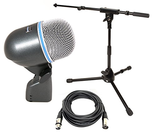 Shure BETA 52A Dynamic Kick Drum Microphone w/FREE Jamstands Tripod Mic Stand with Boom & 25ft Microphone Cable