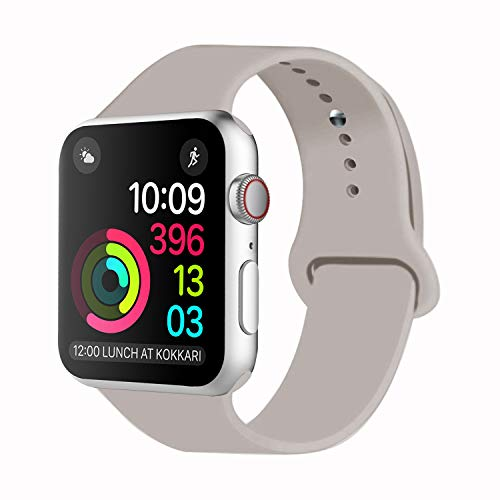 iDon Smart Watch Sport Band, Soft Silicone Replacement Sports Band Compatible for Apple Watch Band 38mm 2017 Series 3 Series 2 Series 1 All Models(S/M, Stone)