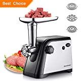 Homeleader Electric Meat Grinder, 3 Stainless Steel Cutting, with Safety Switch and Built-in