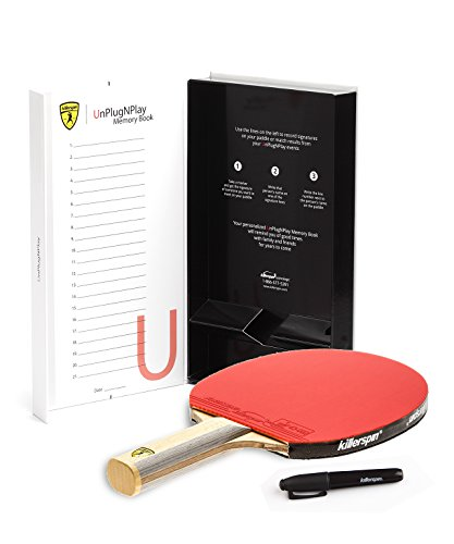 Killerspin Diamond CQ RTG Premium Ping Pong Paddle  Table Tennis Racket  Straight Handle Ping Pong Paddle  7-Ply Wood/Carbon Fiber Blade, Fortissimo Rubbers  ITTF Approved  Memory Book Gift Storage Case