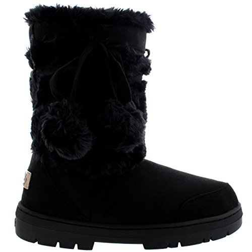 Womens Pom Pom Fully Fur Lined Waterproof Winter Snow Boots  Size 11  Black