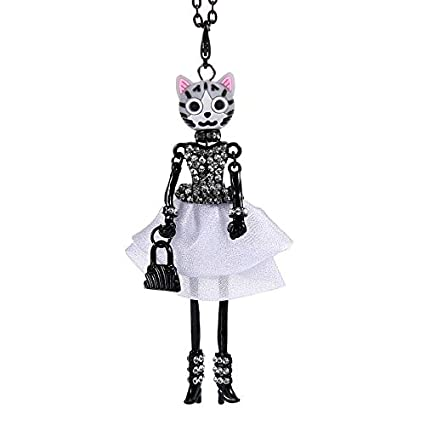 Metal Color: Pink Davitu Cute Doll Necklace Cat Crystal Dress Flower Long Chain Alloy Doll Pendant Fashion Jewelry for Women 2018 News Accessories