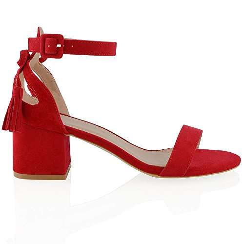 Essex Glam Women's Faux Suede Ankle Strap Low Heel Cut Out Bow Sandals Red Faux Suede a3WQjEF