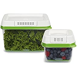 Rubbermaid FreshWorks Produce Saver Food Storage Container, 2-Piece Set, Small/Large, Green, Frustration-Free Packaging
