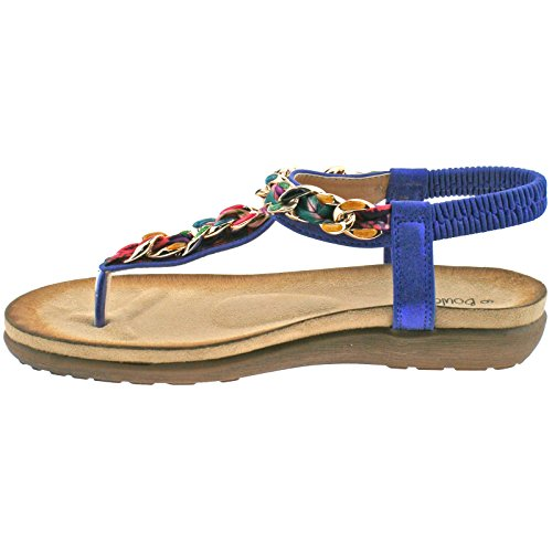 LADIES BOULEVARD METALLIC BLUE MULTI ELASTICATED TOE POST SANDALS L9528C KD-UK 7 (EU 40)