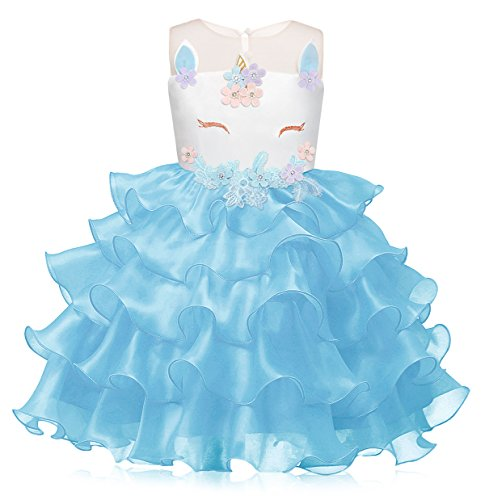 Cotrio Unicorn Halloween Costumes for Girls Dress Up Pageant Party Evening Gowns Tulle Tutu Birthday Party Dresses Size 8 (140, 7-8Years, Blue) ()
