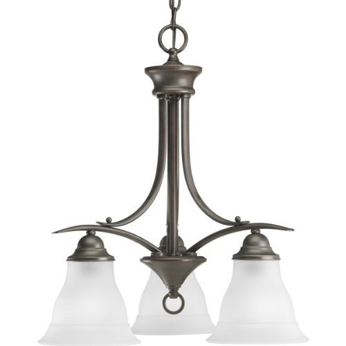 Progress Lighting P4324-20 3-Light Chandelier with Etched Glass, Antique (Trinity Antique Bronze Three Light)
